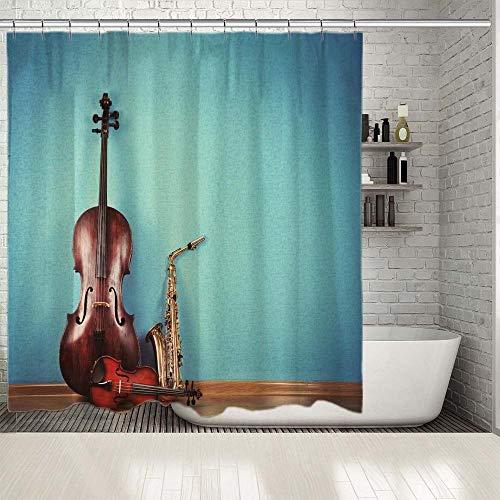 xwwnzdq viool saxofoon muziekinstrumenten op turquoise behang orkest kunst thema foto douchegordijn