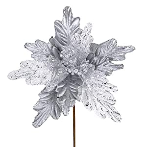 6 Pcs Christmas White Glitter Metallic Sheer Mesh Sequins and Silver Damask Weave Poinsettia Flowers Picks Tree Ornaments 8″ W for White Xmas Tree Wreaths Garland Winter Wedding Holiday Decoration