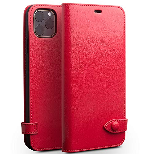 iPhone 11 Wallet Case for Women 6.1 Red Flip Luxury Genuine Leather Best Protective Cases with Card Holder Scratch-Proof Covers Support Wireless Charging