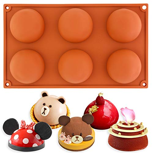 2019 meilleurs codes promo mignonne Large Hemisphere dome silicone mould pan 6 holes Baking Chocolate pudding  Pastry Silicone Mold Pan Tray Bakeware 29.5x17.5x3.3cm