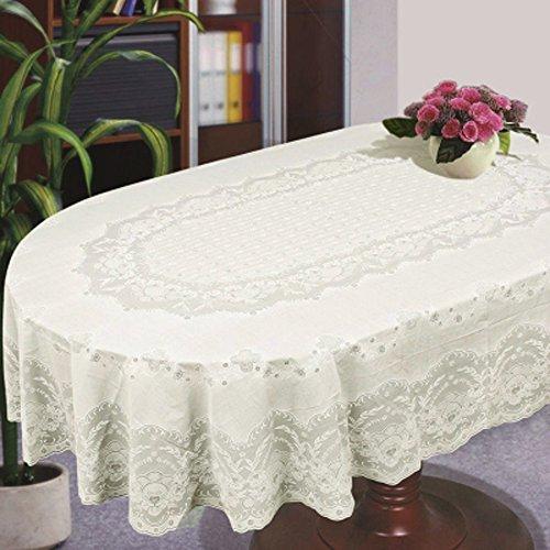 Tovaglia da tavola Copriletto da tavolo ovale Rettangolo in pizzo di plastica di colore beige