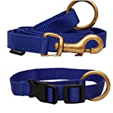 Leash and Collar are made with a lightweight and flexible webbing that is made to last a lifetime while being waterproof, dirt proof, and odor proof. 100% Brass metal Hardware. Collar: Lockable Buckle and Unique Design to remove the load on the Buckl...