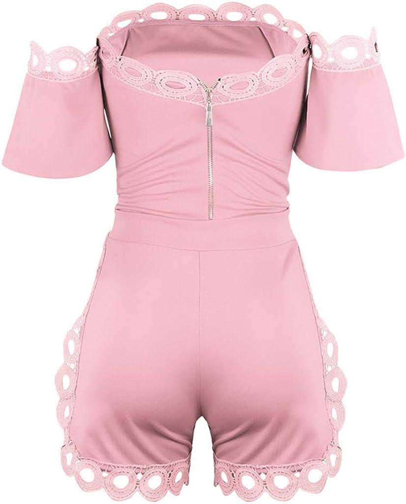 TUDUZ Spitzen Jumpsuits Damen Off Shoulder Sommer Elegant Kurzarm Strampler Elastischer Taillen-Overall mit Rei/ßverschluss