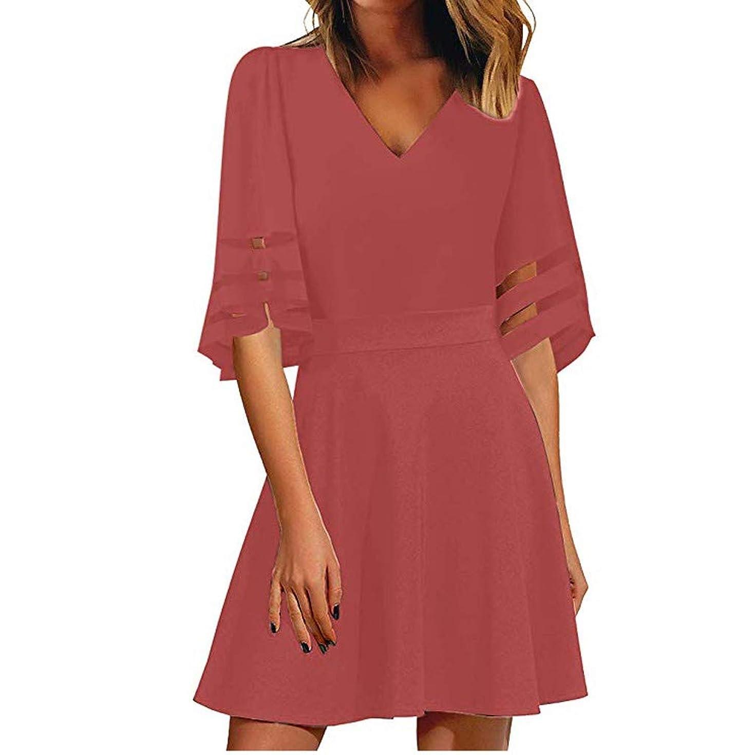 Women's Dresses,Women's V Neck Mesh Panel Dress 3/4 Bell Sleeve Loose Top Shirt Dress Solid Color Dress by Qingell