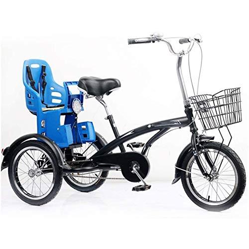 Triciclo Adulto Tricycle Adult Triciclo trike crucero bicicleta 3 rueda bicicleta 16 pulgadas, bicicletas de tres ruedas para adultos mayores mujeres hombres principiantes con asiento para niños, fren