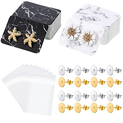 800 Pieces Marble Earring Display Cards Set Includes 300 Pieces Earring Cards Paper Earrings Holders 300 Pieces Self-Seal Bags and 200 Pieces Earring Posts with Backs for Jewelry Making, 1 x 1.4 Inch