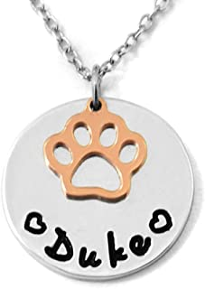 Rose Gold Color Dog Paw Necklace, Personalized Dog Print Pendant Necklace