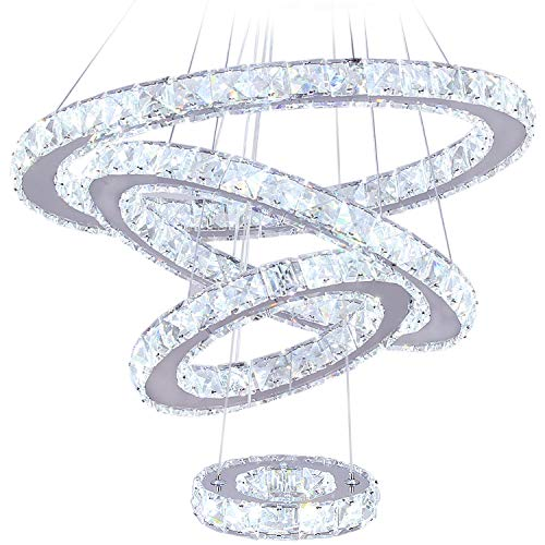 LED Chandeliers, Modern Crystal Chandelier Dining Room Living Room LED Ceiling Pendant Light 4 Rings Adjustable Stainless Steel Contemporary Chandeliers (4r Cool White)