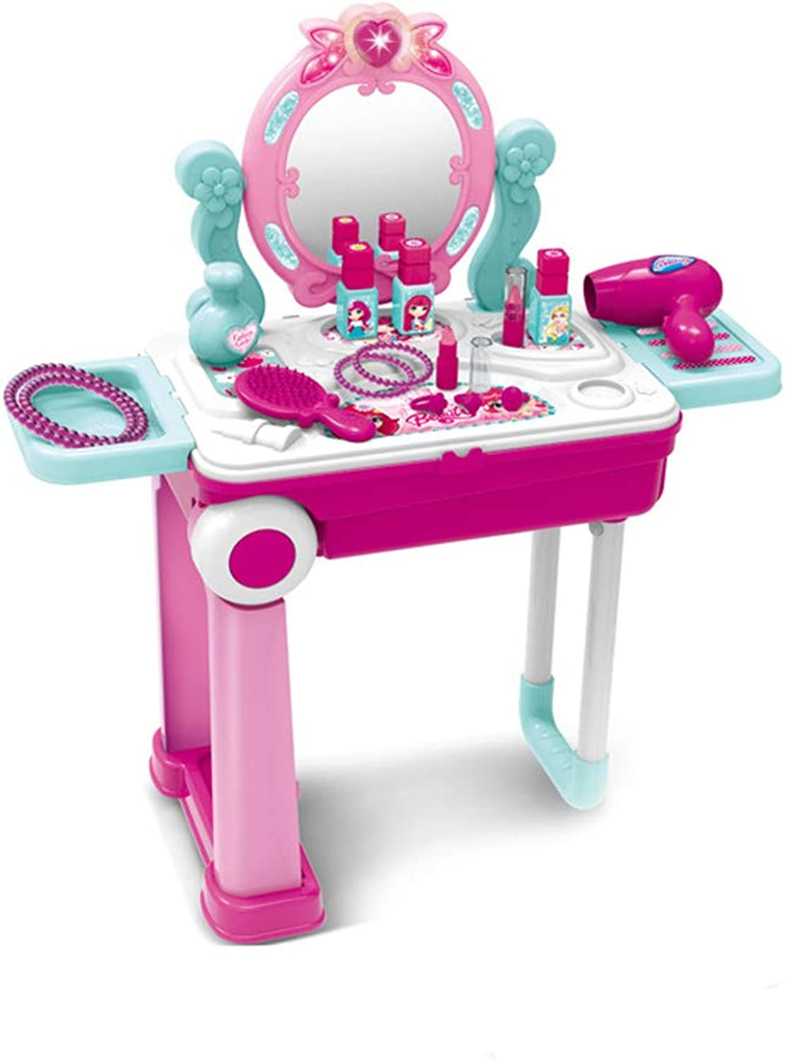 JK Pretend Play Makeup Toy Set Beauty Princess Dressing Table and Suitcase Congreenible Suitcase trolley Portable Role Play Set with Accessories for Girl Kids