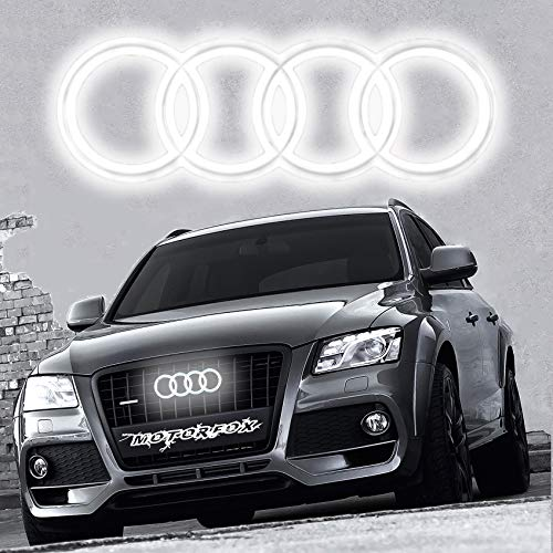 Emblem LED Kuehlergrill Ringe Motorfox Leuchtende Ringe Logo Tagfahrlicht weiß A1 A2 A3 A4 A5 A6