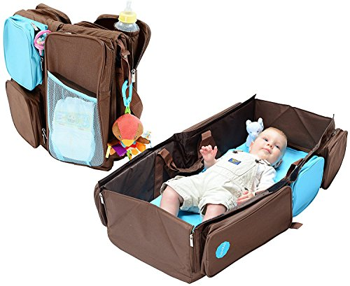 Mo+m 3-in-1 Convertible Diaper Bag, Baby Changing Pad & Travel Bassinet Infant Bed - Convenient All in One Tote w/ Pockets, Insulated Bottle Holder, Stroller Hooks & Comfortable Foam Cushion