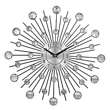 Crystal Sunburst Metal Wall Clock Home Art Decor Silver Mirror Modern Style Decorative,Perfect for Housewarming Gift.(3d,36pcs Diamonds,13 Inches)