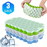 Ice Cube Trays with Lids, 3-Pack No-Spill Reusable Ice Cubes Food Grade Silicone Ice Cube Moulds, Durable, Easy-Release and BPA Free 111-Ice Cube Molds for Freezer, Baby Food, Water, Cocktail