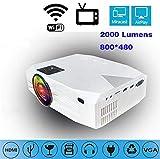 Inteligente nuevo proyector 1080P proyector de 2000 lúmenes 120 pulgadas de proyección inalámbrica Wi-Fi Multi-Pantalla Full HD proyector de vídeo, cine en casa compatible USB / SD / VGA / TF Card / H