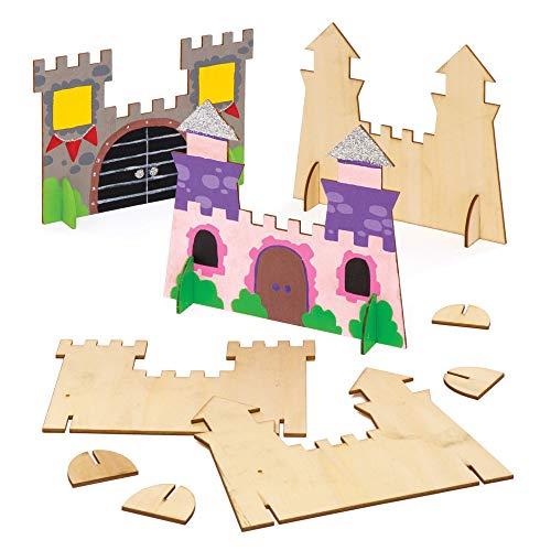 Baker Ross Castelli in legno autoportanti (confezione da 6) - Creazioni a incastro per bambini, da decorare e assemblare per creare un castello 3D in verticale