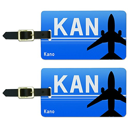 Kano Nigeria (KAN) Airport Code Luggage Suitcase Carry-On ID Tags Set of 2