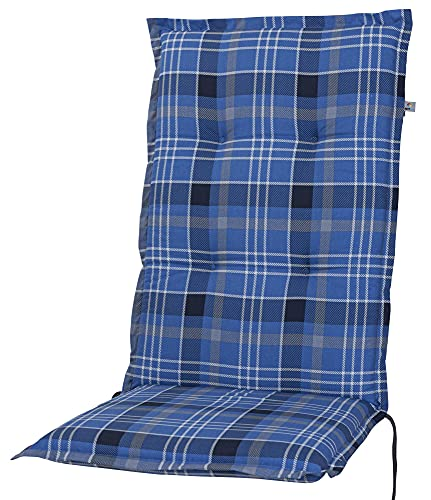 Kettler Polen 2394 Auflage Hochlehner Milano blau-grau kariert 120x49x6 cm KETTtex