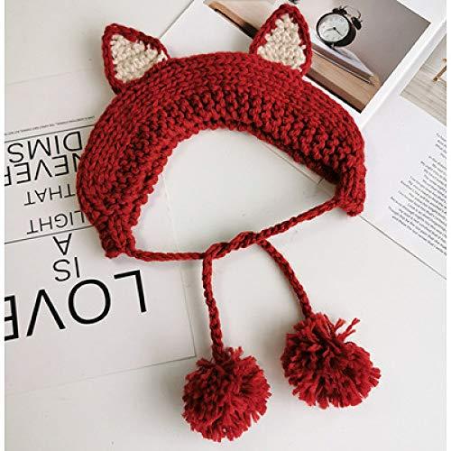 Xme Kinder weiches Schwesterhaar mit Wollmütze, Ohrenschützer Winter warme Mütze, süße Katzenohren gestrickt Gehörschutz