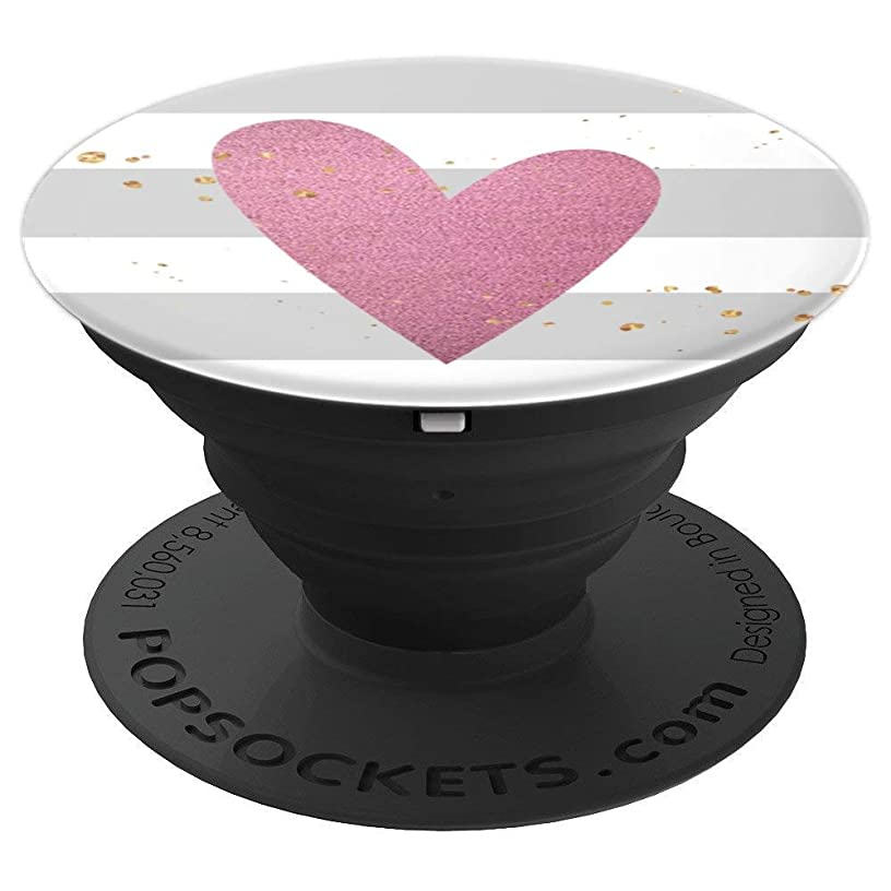 Heart Pop Socket White and Grey Stripped Strips Girly Pink - PopSockets Grip and Stand for Phones and Tablets
