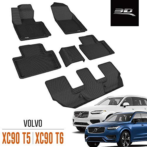 3D MAXpider All-Weather Floor Mats for Volvo XC90 T5 / Volvo XC90 T6 2015-2020 Custom Fit Car Floor Liners, Kagu Series (1st 2nd & 3rd Row, Black)