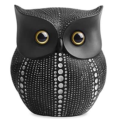 Owl Statue Decor (Black) Small Crafted Buho Figurines for Home Decor Accents, Living Room Bedroom Office Decoration, Buhos Bookself TV Stand Decor - Animal Sculptures Collection BFF for Owls Lovers