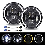 Coppia 7' Fari a LED 300W 30000LM 4 lenti Angel Eyes 3000K+6000K 4 Modalità di Illuminazione Rotonda Nera Cree Lights LED Off Road Fire Cross DRL HI LO Beam per Wrangler JK TJ LJ CJ Hummber H1 H2