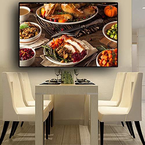 Carne Vegetal Escandinavo Lienzo Pintura Carteles e impresiones Restaurante Cocina Arte de la pared Comida Imagen Sala de estar 50x70cm