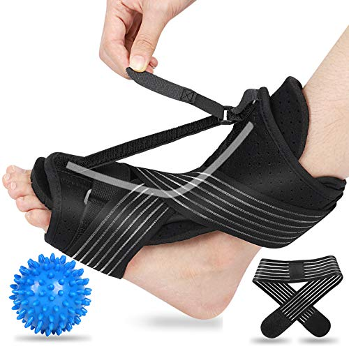 2020 Updated Version Plantar Fasciitis Night Splint, Efferey Night Splint for Plantar Fasciitis, Adjustable Plantar Fasciitis Splint Night with Massage Ball and Bandage (Black)