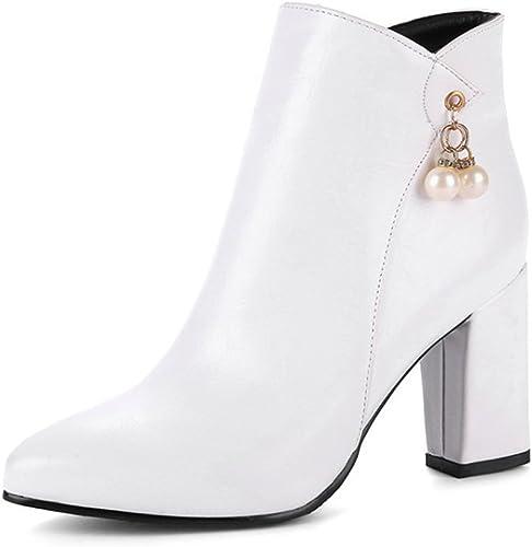 Zrf cómodo Antideslizante botas de Moda de Punta Estrecha Martin botas de Novia de tacón Alto de otoño e Invierno Resistente al Calor (Color   blanco, Tamaño   33)