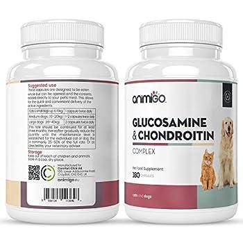 Animigo Glucosamine Chondroïtine Chien et Chat – 180 Capsules – Complexe au Sulfate 2KCL et Marine 90%
