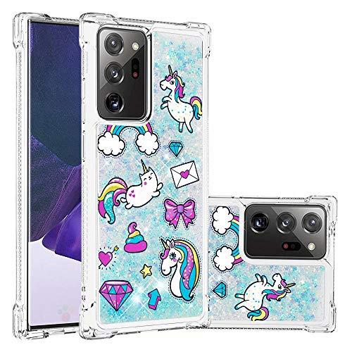 Miagon Flüssig Hülle für Samsung Galaxy Note 20,Glitzer Weich Treibsand Handyhülle Glitter Quicksand Silikon TPU Bumper Schutzhülle Case Cover-Pferdebrief