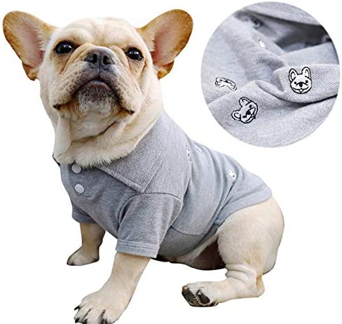 French Bulldog Embroidery Cotton Dog Shirts Pet Puppy T Shirt Clothes Outfit Apparel Coats Tops product image