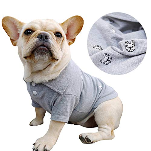 French Bulldog Embroidery Cotton Dog Shirts Pet Puppy T-Shirt Clothes Outfit Apparel Coats Tops (Medium)