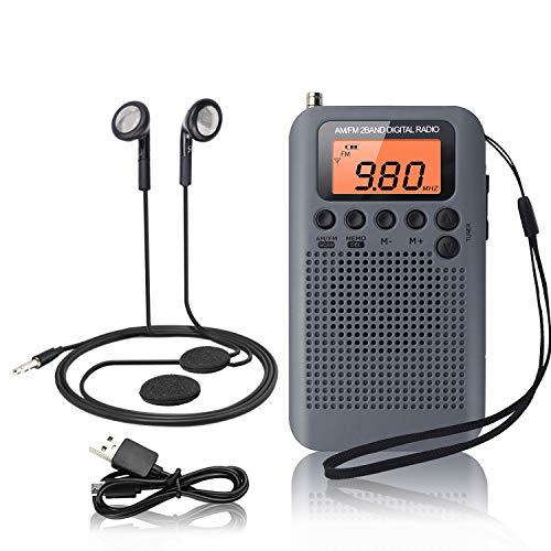 Mini Radio Portatil Pequeña Digital Radio de Bolsillo con Altavoz de Sonido Reloj Despertador FM/Am Estéreo DSP Tuning Receptor con Auriculares para Casa Ducha Cocina Correr Caminar Senderismo
