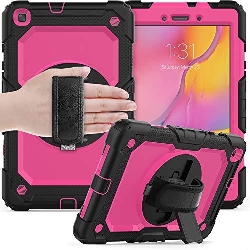 para Funda Samsung Galaxy Tab a 8.0 2019,SM-T290/T295, Cubierta Protectora Completa a Prueba de Golpes de Tres Capa con Correa y Soporte de Mano,Rose