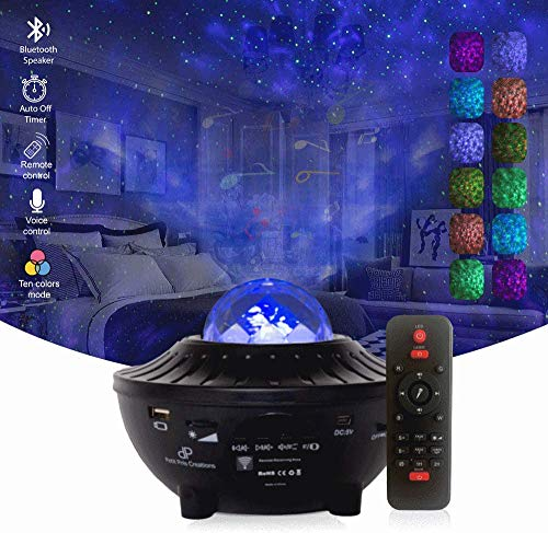 Petit Pois Creations, stars Night light Galaxy projector W/led light, skylight star projector, lights for bedroom, party lights/night light for kids W/Bluetooth Speaker, POWER ADAPTER INCLUDED (Black)