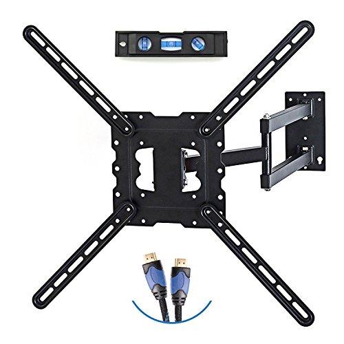 TV Wall Mount Fits most 26' - 55' LCD/LED/schermi piatti fino a 66 lb. Full Motion girevole braccio snodato. Braccio di prolunga snodo, 50,8 cm, VESA 400 x 400, cavo HDMI e livella a bolla