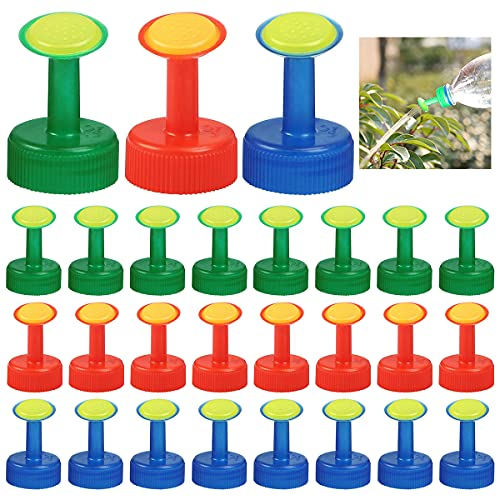 saijer Bottle Top Watering Head, 30 pcs Mini Watering Top Sprinkling Head Plastic Nozzle Garden Watering Potted Plants for Flowers and Vegetables (Red,Green,Blue)
