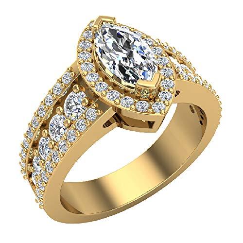 Glitz Design Damen Kinder Herren Unisex - Gold 14 Karat (585) 14 Karat (585) Gelbgold Markise Runder Brilliantschliff Getöntes Weiß/Top Cape (K) Diamant