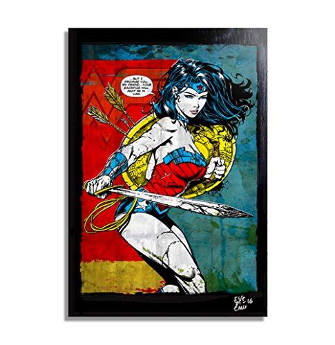 Wonder Woman (Mujer Maravilla) DC Comics - Pintura Enmarcado Original, Imagen Pop-Art, Impresion Poster, Impresion en Lienzo, Cuadro, Comics, Cartel de la Pelicula