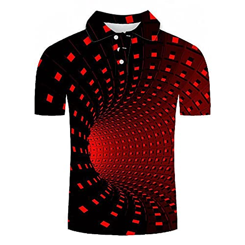 GXRGXR 3D Printed Polo Shirts - Creative Lapel Button Short Sleeve Breathable Shirt -Summer Unisex Abstract Geometric Tunnel Graphic Sport Plus Size T-Shirt for Men Women Tee Top,Red,5XL