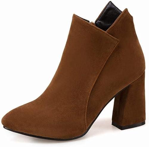 ZHRUI Stiefel para damen - Stiefel Individuales Occidentales Stiefel Gruesas de tacón Alto Stiefel para damen Stiefel Martin esmeriladas Stiefel cálidas de otoño e Invierno 33-43