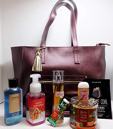 Bath and Body Works 2018 Black Friday Bag Large Burgandy W Attached Tassle Key Chain and 7 Items Valued at $116.70
