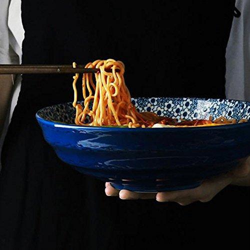 LIXUE Style japonais en céramique grande soupe Ramen bol Creative salade de fruits peints à la main Pasta bol bleu et blanc four à micro-ondes Safe (Taille : 8.3 inches)