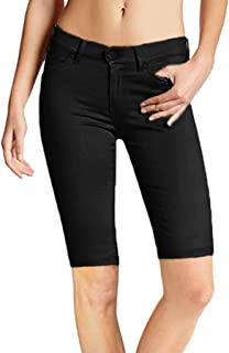 AcisuHu Summer Women Casual Solid Stretch Comfy Skinny Zip Pants High Waist Knee Length Shorts