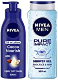 NIVEA Body Lotion, Oil in Lotion Cocoa Nourish, For Very Dry Skin, 400ml and NIVEA Men Pure Impact Shower Gel, 500ml, Hair, Face & Body Wash