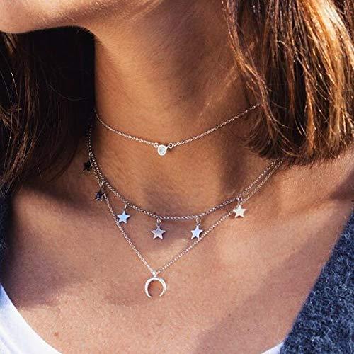 Jovono Collares con colgante de borla de estrella multicapa a la moda, collar de luna creciente, joyería para mujeres y niñas (plata)