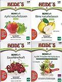 BOMSaft'Heides- Saftbar' (1 x Apfel-, 1 x Birnen-, 1 x Sauerkirschsaft naturbelassen, 1 x Apfel-Traubensaft mit Kräutern), 4 x 5 Liter