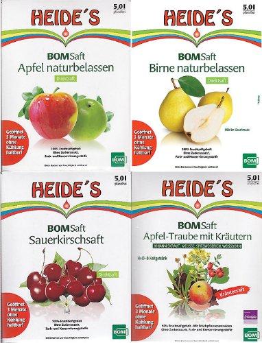 """BOMSaft""""Heides- Saftbar"""" (1 x Apfel-, 1 x Birnen-, 1 x Sauerkirschsaft naturbelassen, 1 x Apfel-Traubensaft mit Kräutern), 4 x 5 Liter"""