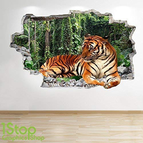 1Stop Graphics Shop TIGER WALL STICKER 3D LOOK - BEDROOM LOUNGE NATURE ANIMAL WALL DECAL Z550 Size: Large